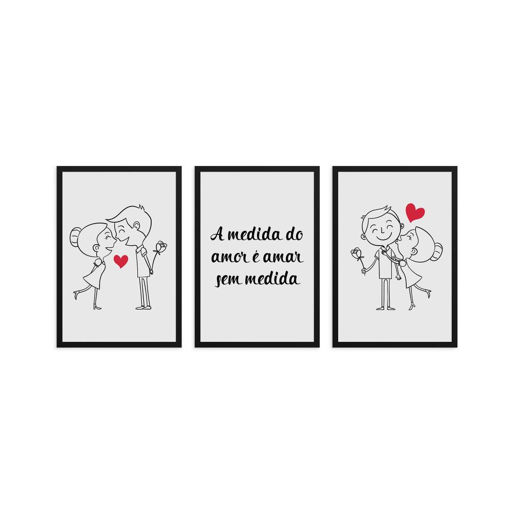 A medida do amor é amar sem medida - Conjunto de 3 Quadros Decorativos