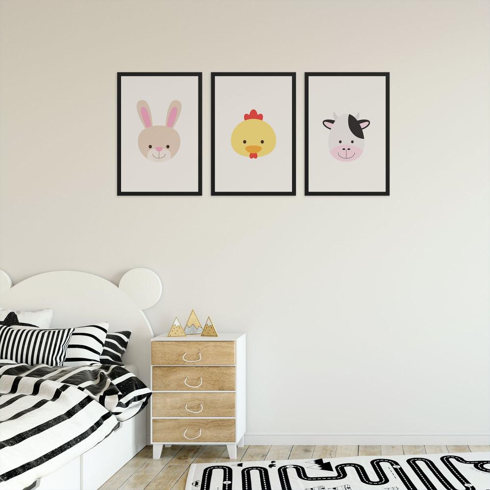Coelhinho pintinho e vaquinha - Conjunto de 3 Quadros Decorativos