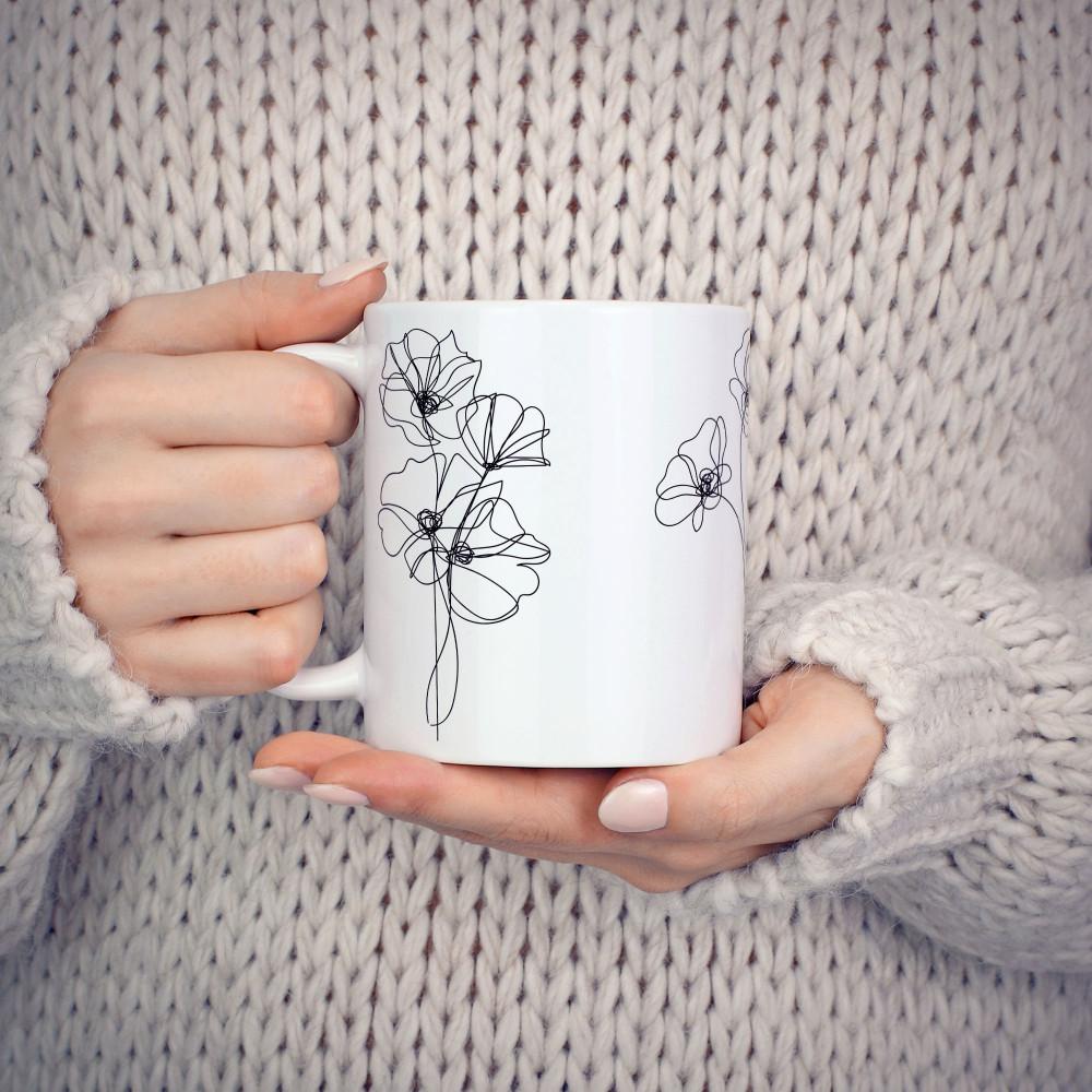 A linha das flores - Caneca Cerâmica Branca 325 ml