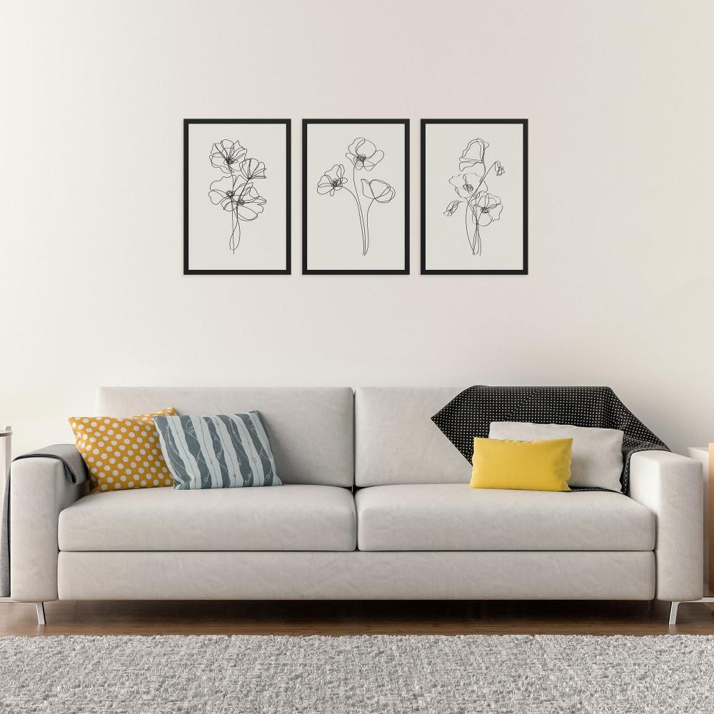 A linha das flores - Conjunto de 3 Quadros Decorativos