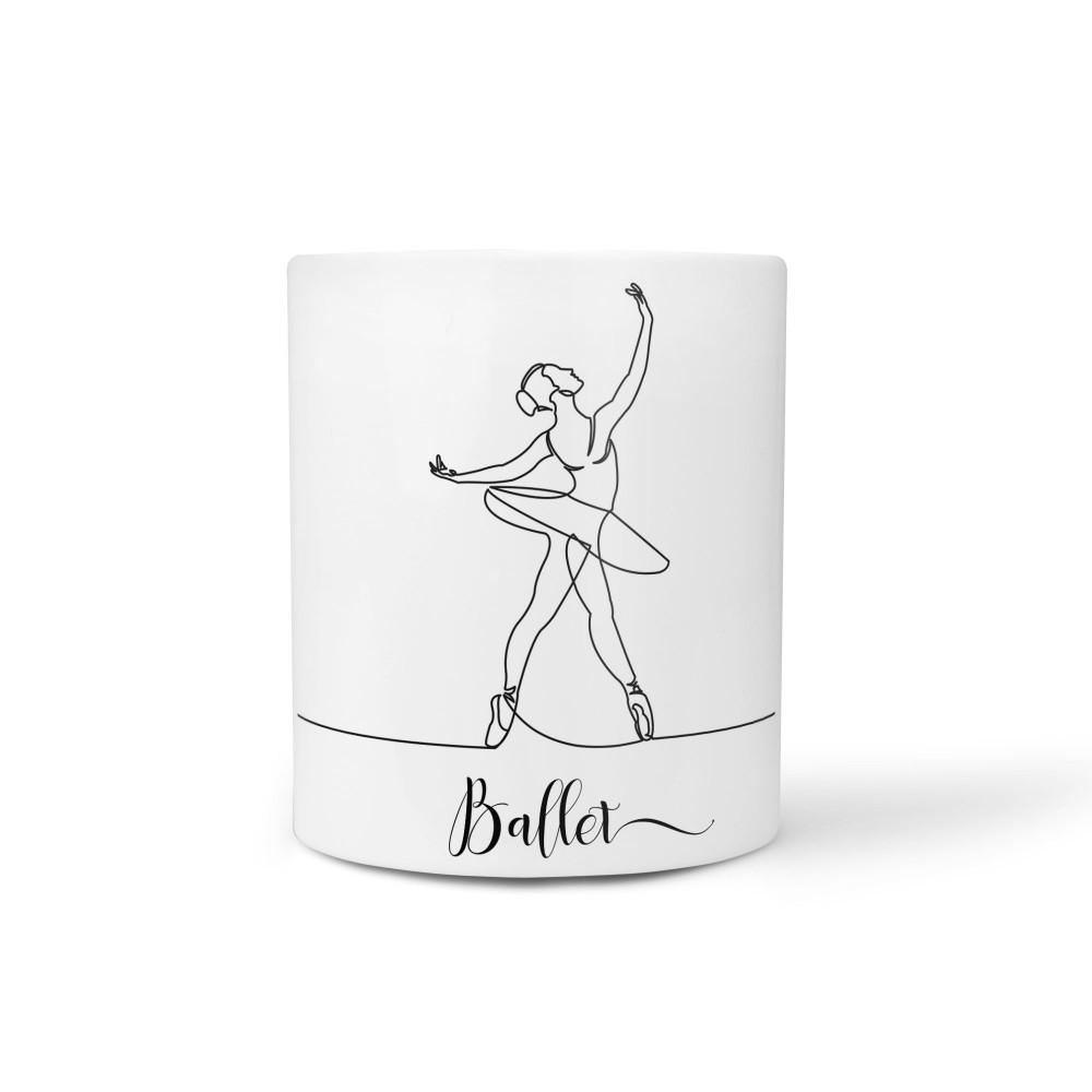 A linha do ballet - Caneca Cerâmica Branca 325 ml