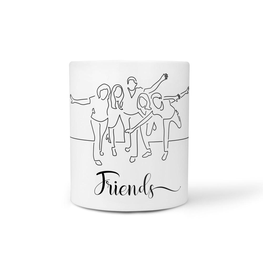 A linha da amizade - Caneca Cerâmica Branca 325 ml