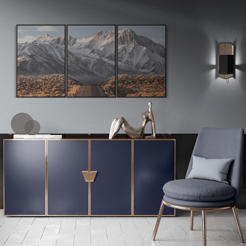 Estrada e Montanhas - Conjunto de 3 telas decorativas