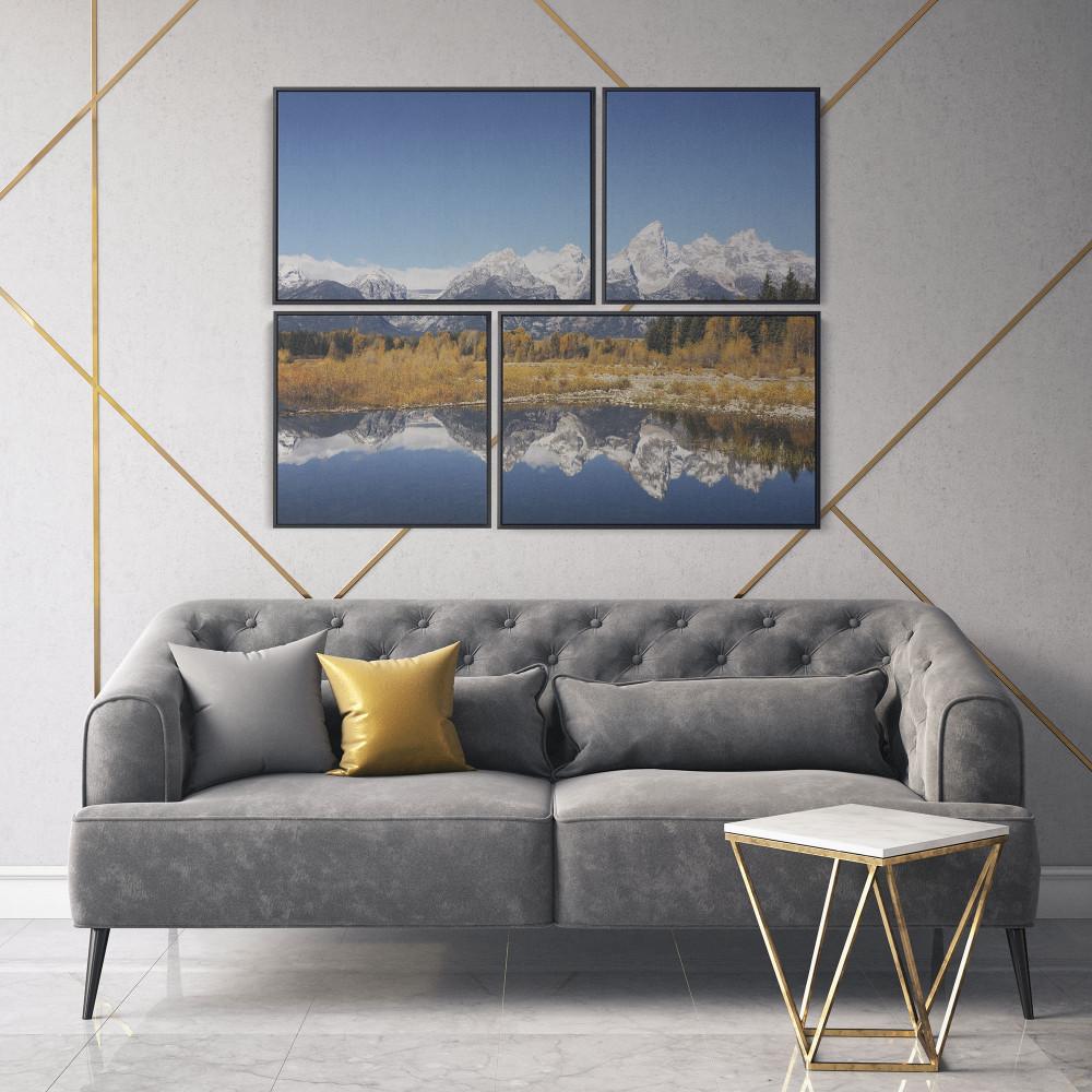 Lago e Montanhas - Conjunto de 4 telas decorativas