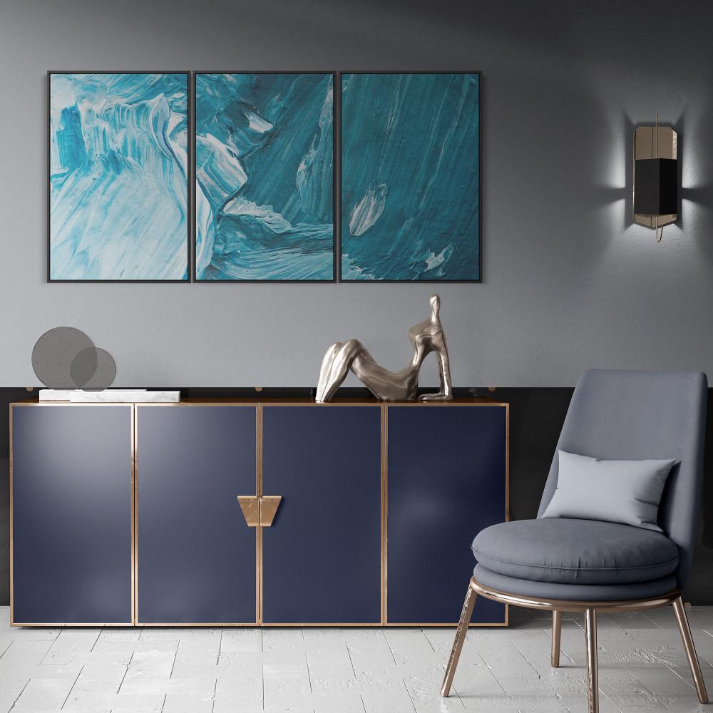 Ensaio em azul - Conjunto de 3 telas decorativas