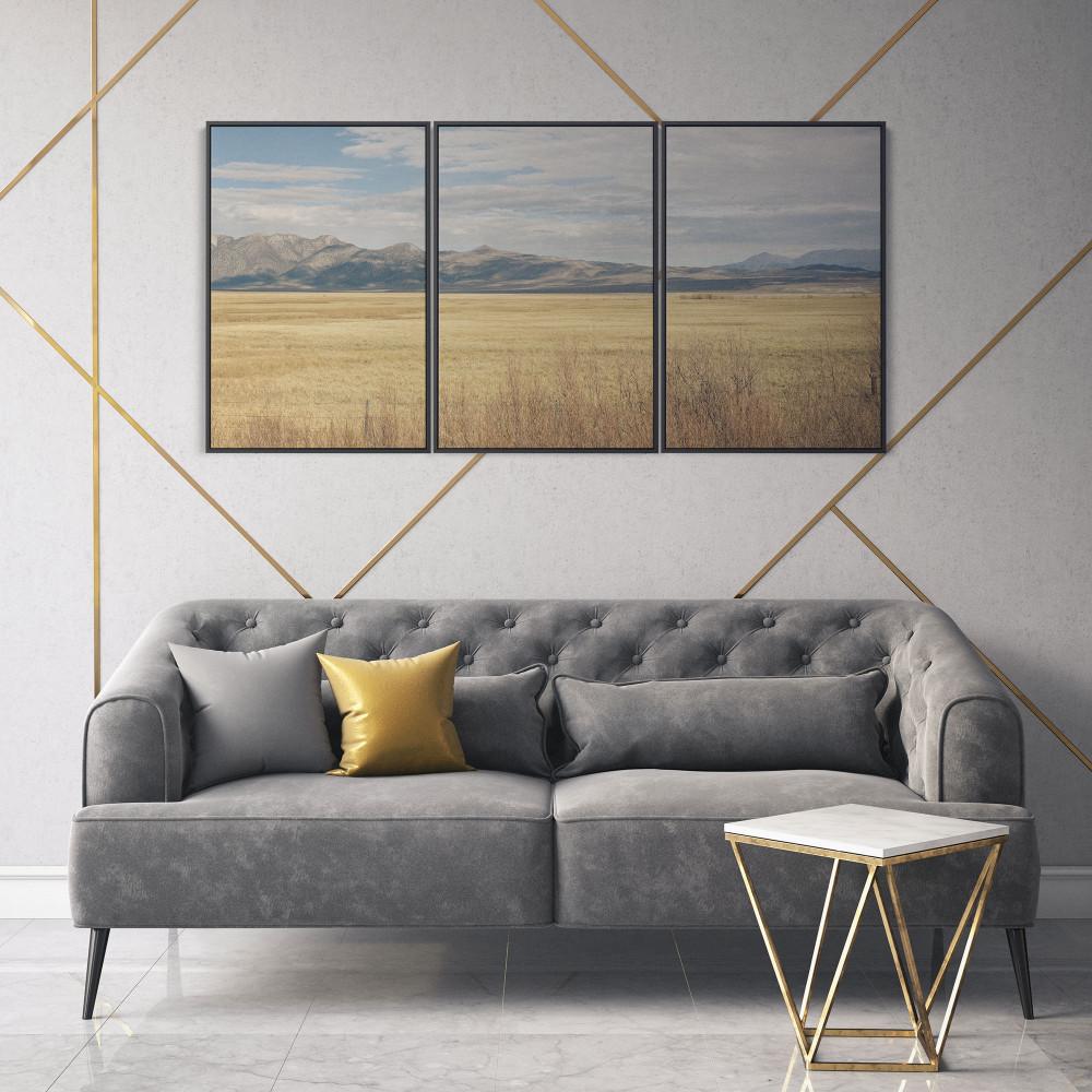 Vista panorâmica da Carolina do Norte - Conjunto de 3 telas decorativas