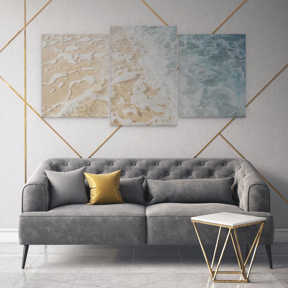 Areia do Mar - Conjunto de 3 telas decorativas