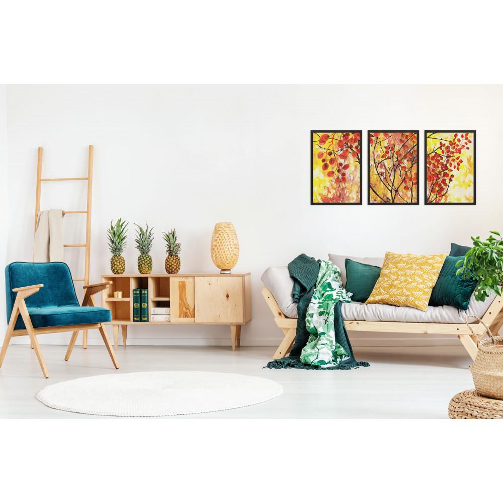 Árvore de folhas vermelhas sob fundo amarelo - Conjunto de 3 Quadros Decorativos