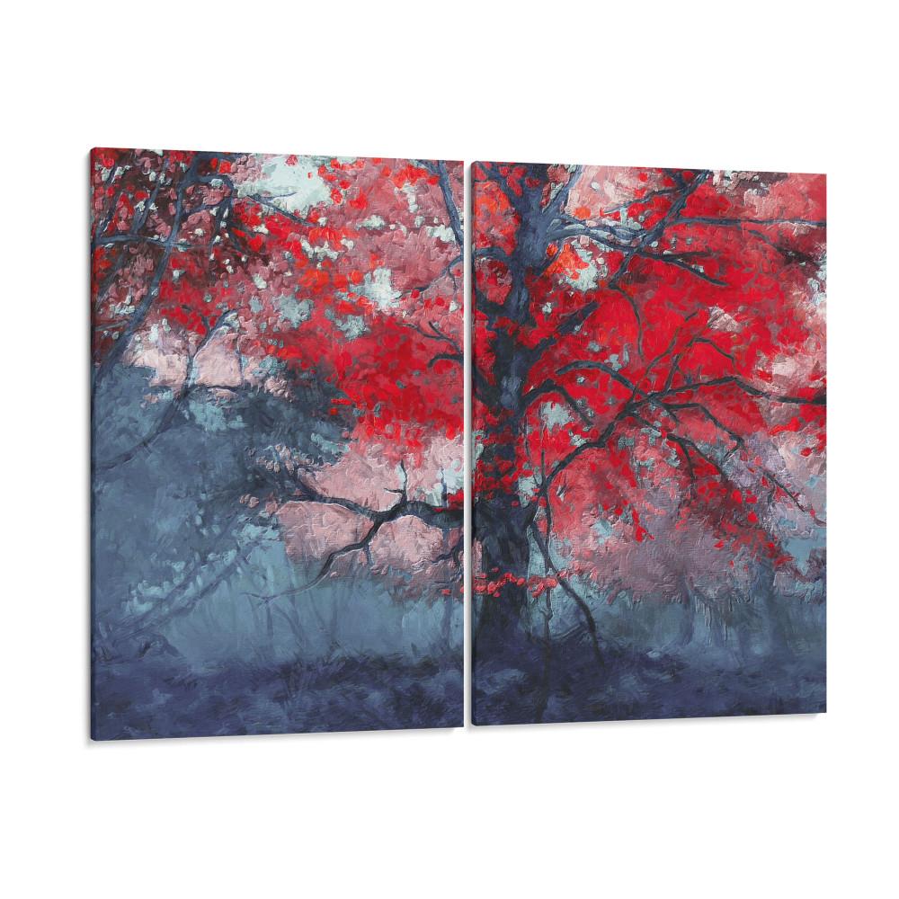 Árvore no outono - Conjunto de 2 telas decorativas