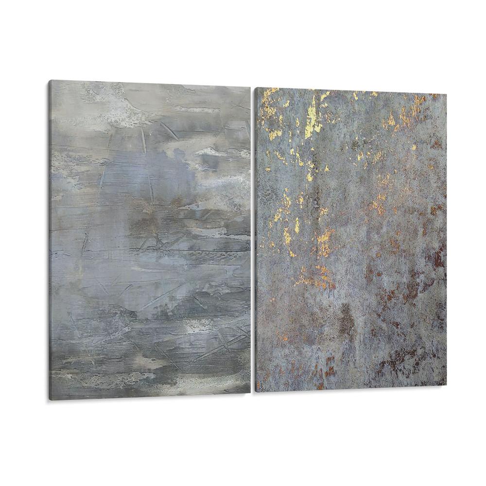 Texturas abstratas em cinza e dourado - Conjunto de 2 telas decorativas