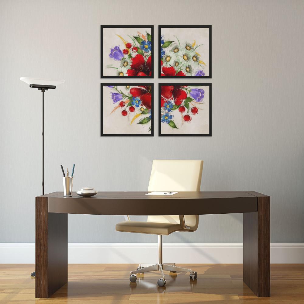 Flores - Conjunto de 4 Quadros Decorativos