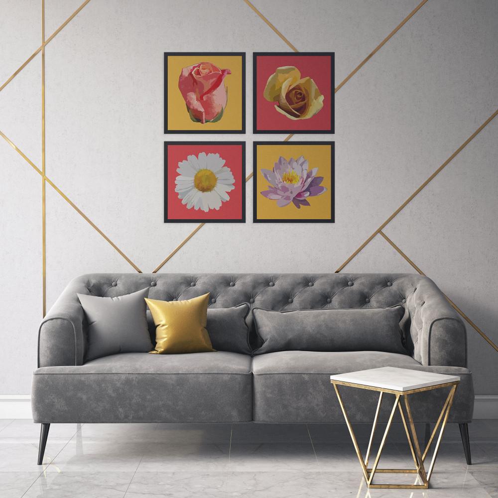 Pétalas - Conjunto de 4 Quadros Decorativos