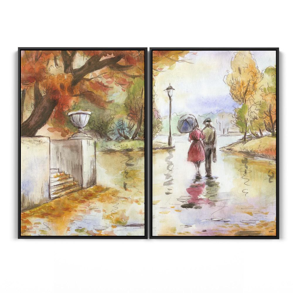 Passeio no parque - Conjunto de 2 telas decorativas