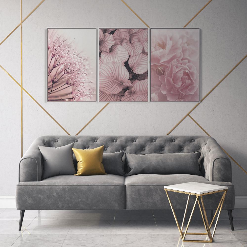 Flores Rosé - Conjunto de 3 telas decorativas